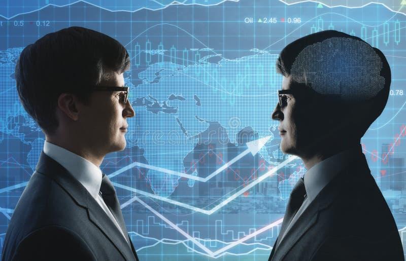Trabajo en equipo, inteligencia artificial y concepto de las finanzas stock de ilustración