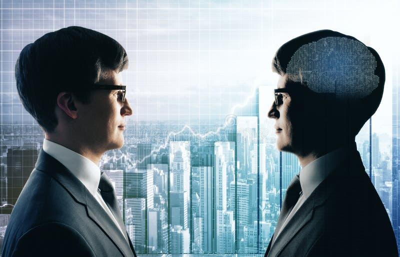 Trabajo en equipo, inteligencia artificial y concepto de las ventas imagen de archivo