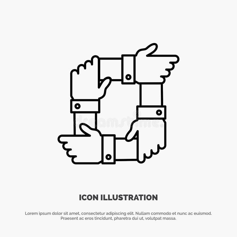 Trabajo en equipo, negocio, colaboración, manos, sociedad, Team Line Icon Vector stock de ilustración