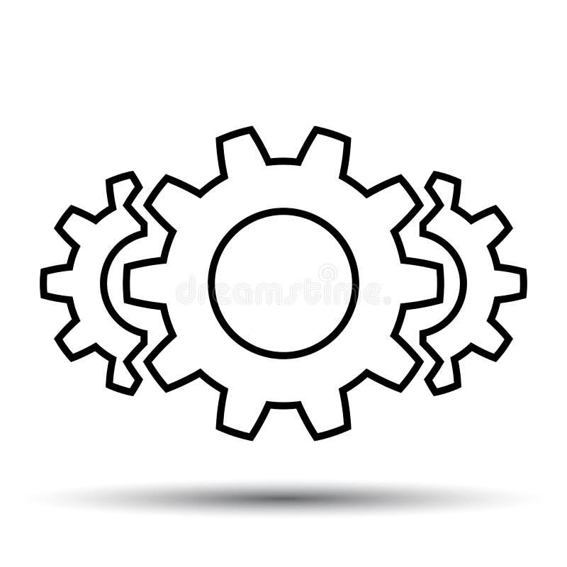 Trabajo en equipo, personal, sociedad, mecanismo del icono del engranaje, una línea - vector stock de ilustración