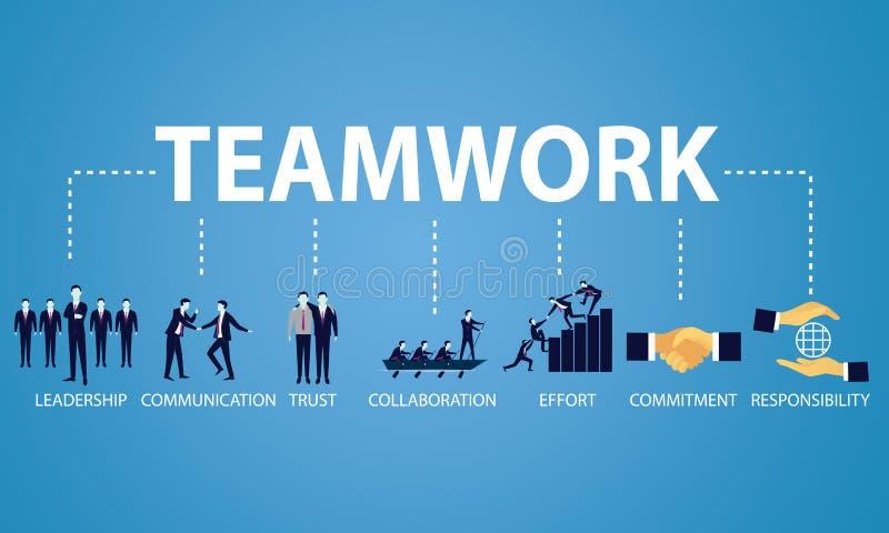 Trabajo en equipo Team Hard Work Concept del negocio Ilustración del vector stock de ilustración