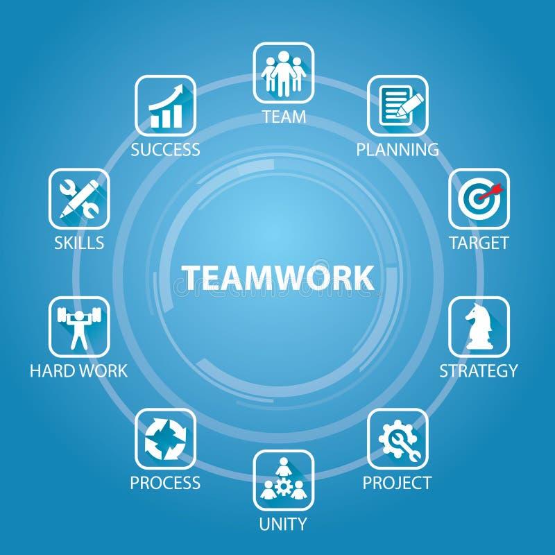 Trabajo en equipo Team Hard Work Concept del negocio Ilustración del vector ilustración del vector