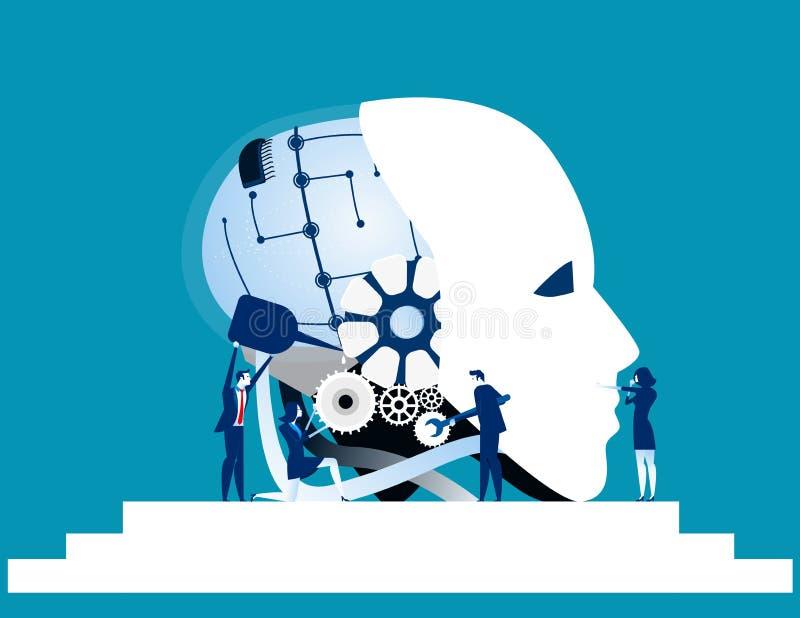 Trabajo en equipo Tecnología del robot de la reparación del equipo del negocio Negocio del concepto libre illustration