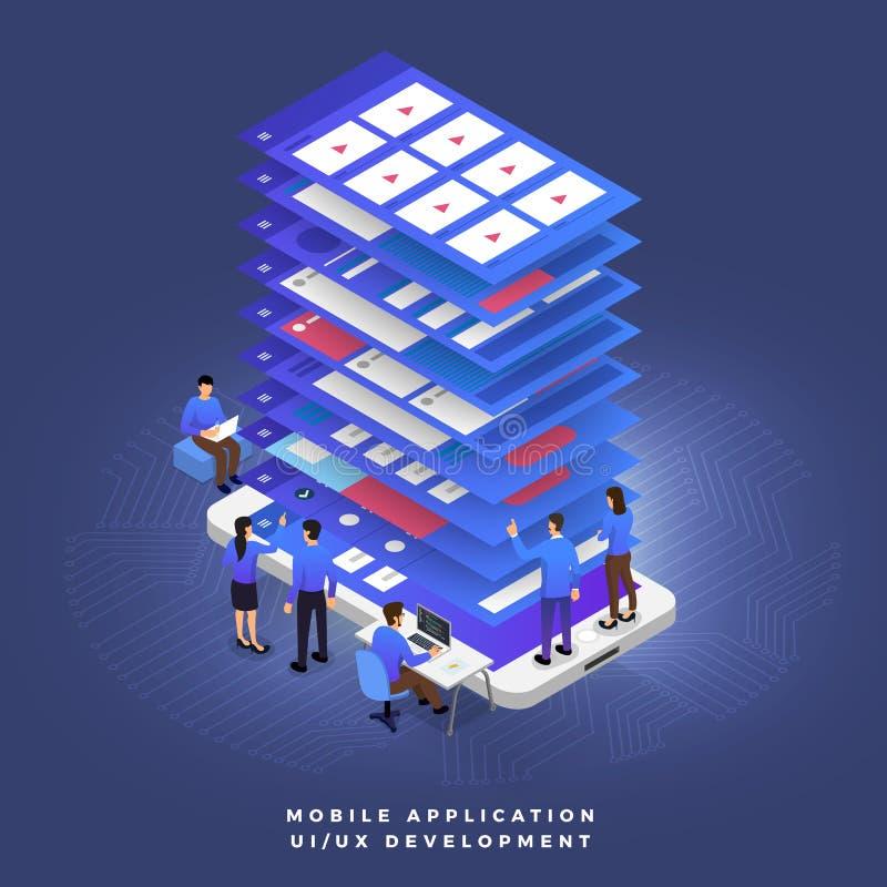 Trabajo en equipo UI/desarrollador de UX stock de ilustración