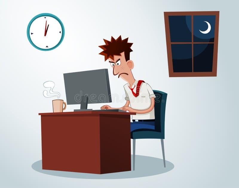 Trabajo en horas extras stock de ilustración