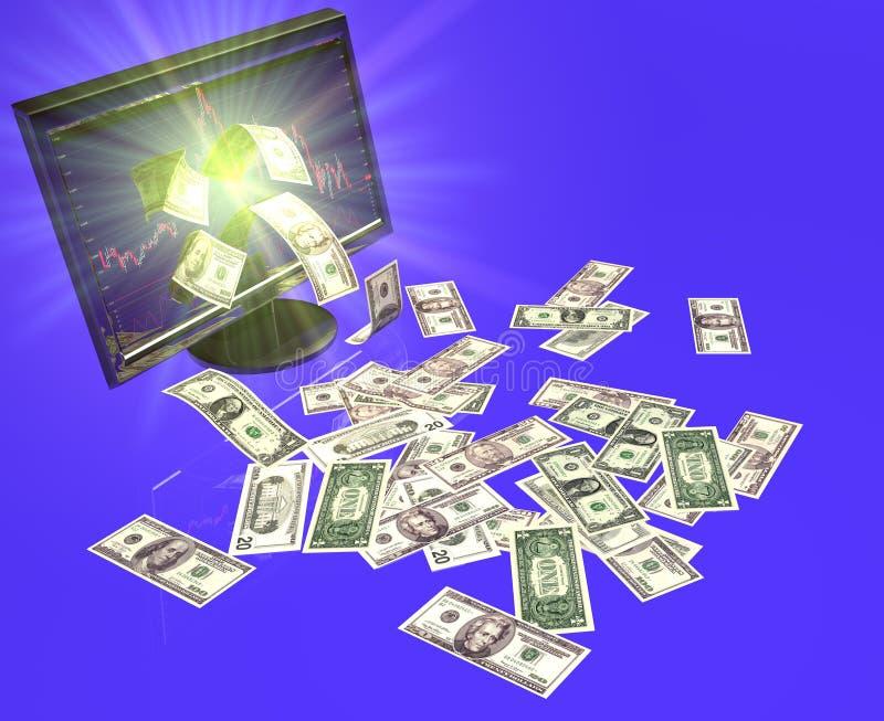 Trabajo en una bolsa del dinero en circulación ilustración del vector