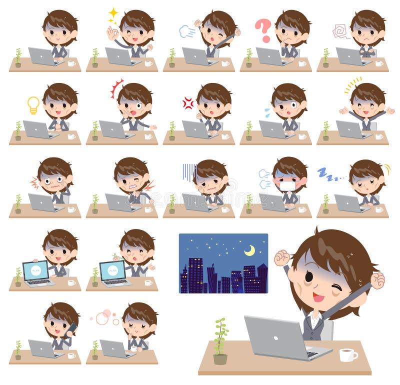 Trabajo gris del condition_desk de las mujeres de negocios del traje mún stock de ilustración