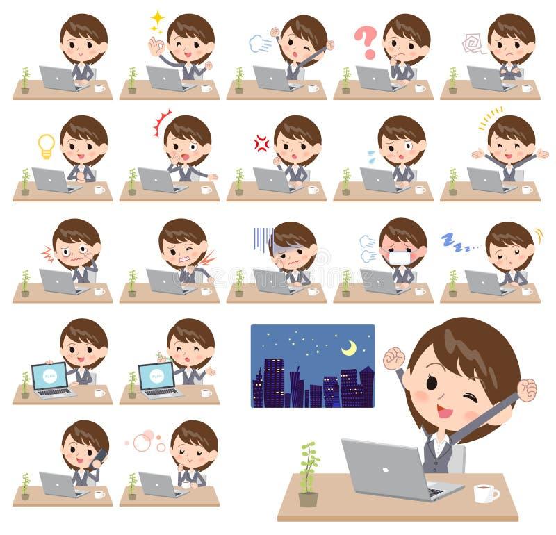Trabajo gris del women_desk del negocio del traje stock de ilustración