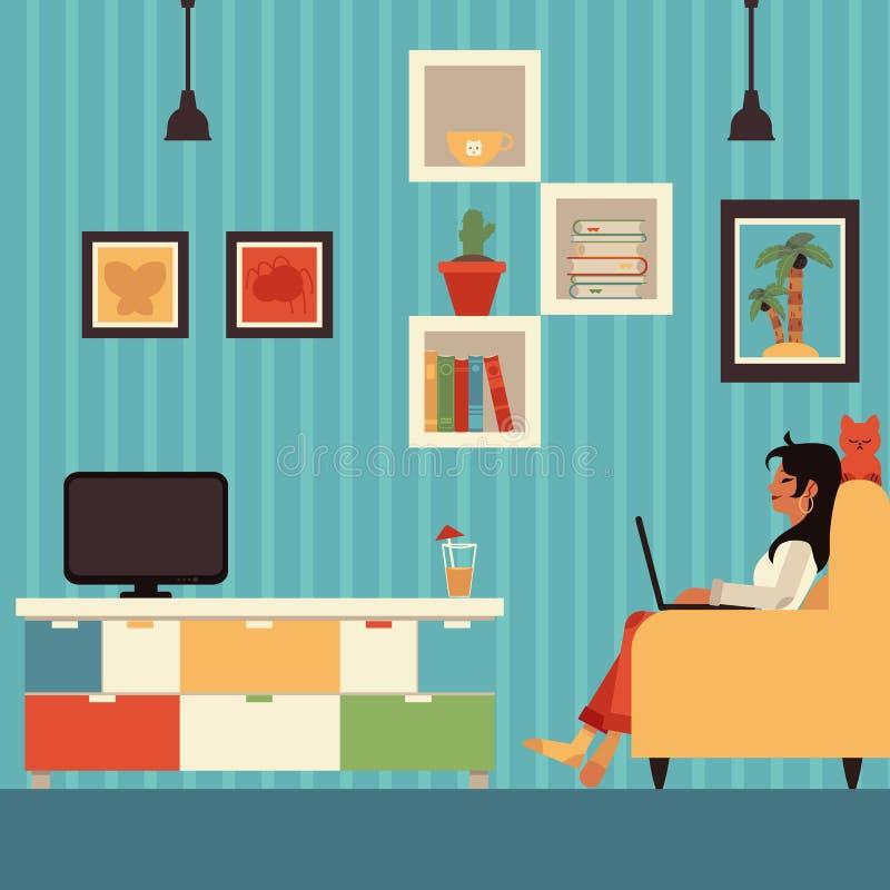 Trabajo independiente de la mujer del vector del hogar en butaca ilustración del vector
