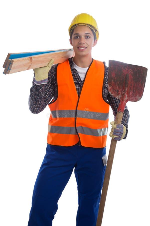 Trabajo joven del trabajador de construcción aislado fotografía de archivo