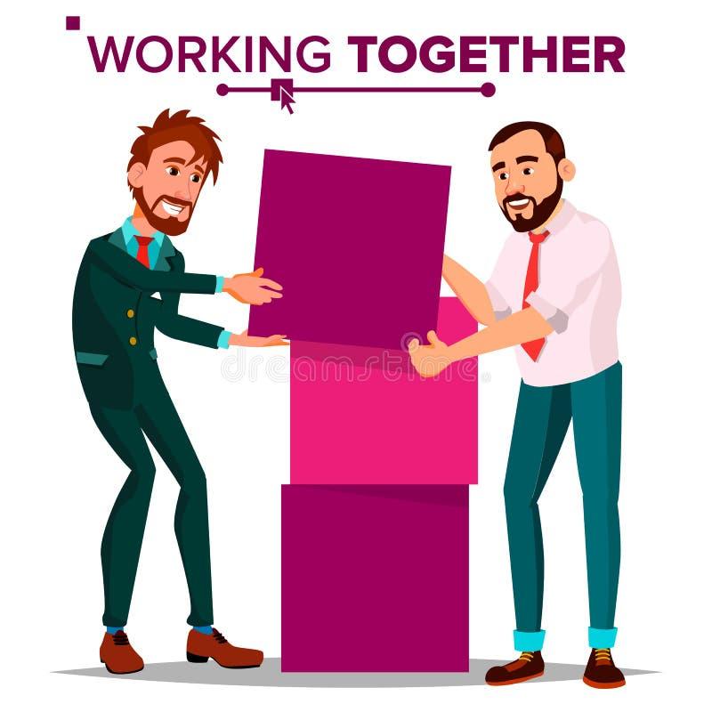 Trabajo junto de vector del concepto Hombre de negocios Día ocupado Compañeros de trabajo Hombres de negocios Ejemplo aislado de  stock de ilustración