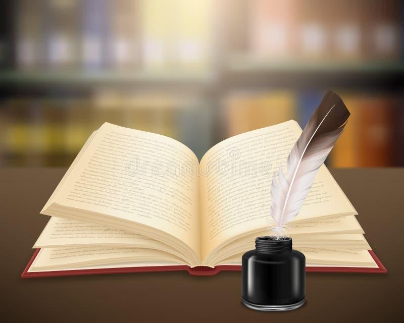 Trabajo literario del libro abierto realista stock de ilustración