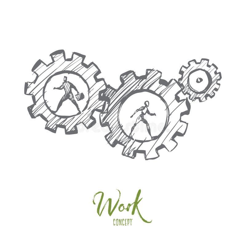 Trabajo, negocio, automatización, HCI, concepto de la tecnología Vector aislado dibujado mano ilustración del vector