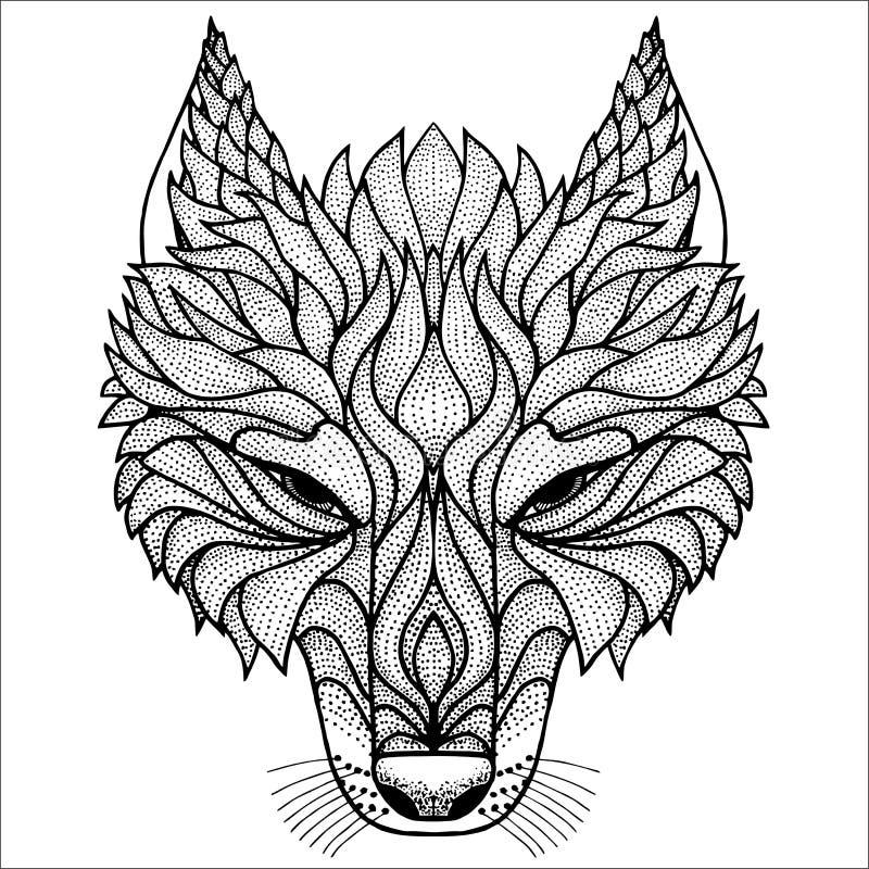 Trabajo principal del punto del lobo stock de ilustración