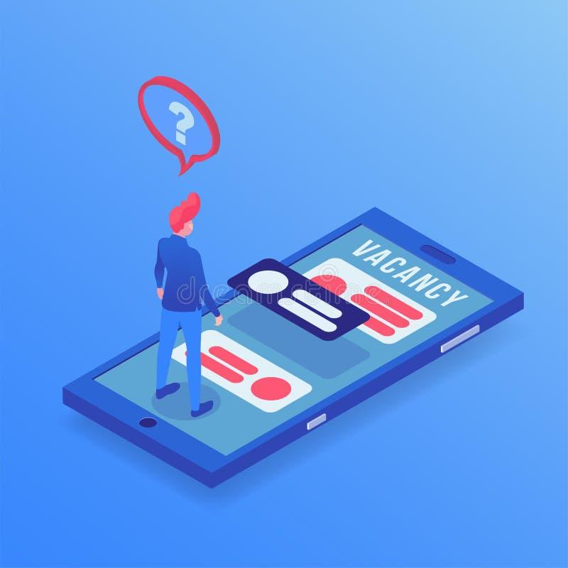 Trabajo que busca el ejemplo isométrico del app Hombre parado que elige vacantes en Internet, usando la aplicación móvil stock de ilustración
