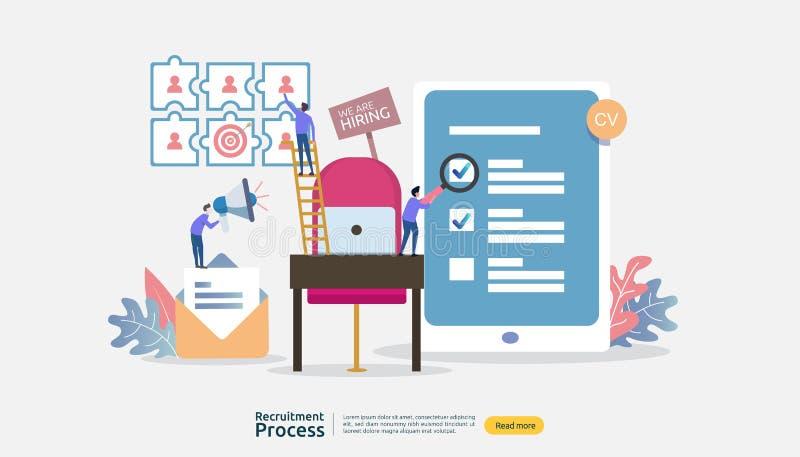 Trabajo que emplea, concepto en línea del reclutamiento carácter vacío de la gente de la silla r proceso selecto del curriculum v libre illustration