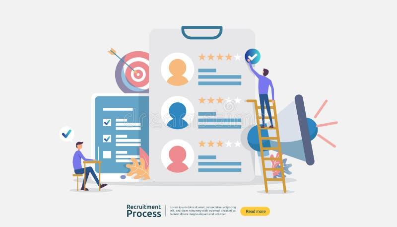 Trabajo que emplea, concepto en línea del reclutamiento con el carácter de la gente r proceso selecto del curriculum vitae r libre illustration