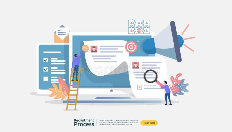 Trabajo que emplea, concepto en línea del reclutamiento con el carácter de la gente r proceso selecto del curriculum vitae r ilustración del vector