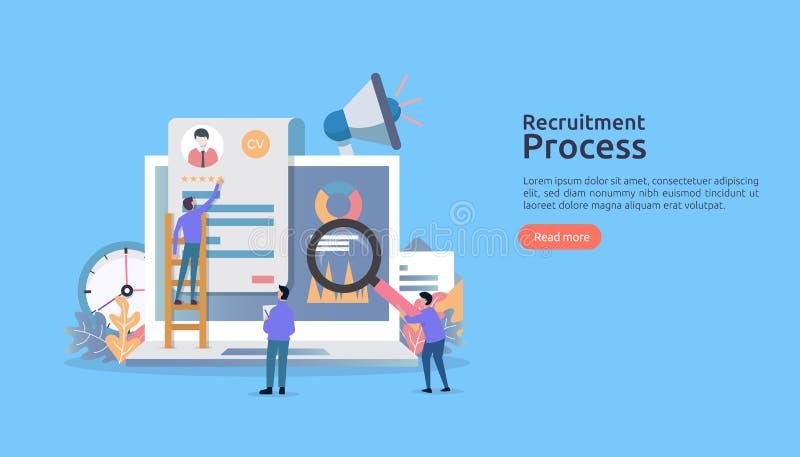 Trabajo que emplea, concepto en línea del reclutamiento con el carácter de la gente r proceso selecto del curriculum vitae r stock de ilustración