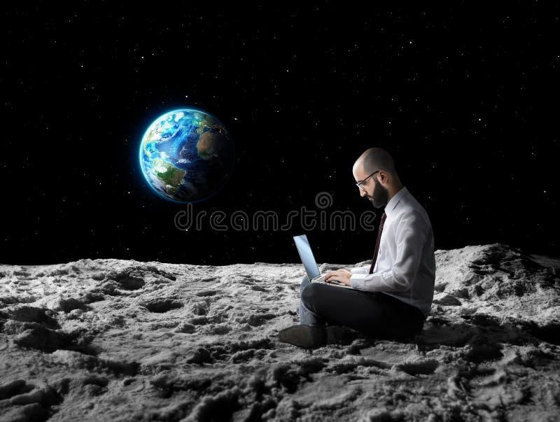 Trabajo remoto o Wi-Fi global ilustración del vector