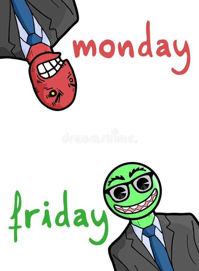 Trabajos de lunes y del amigo stock de ilustración