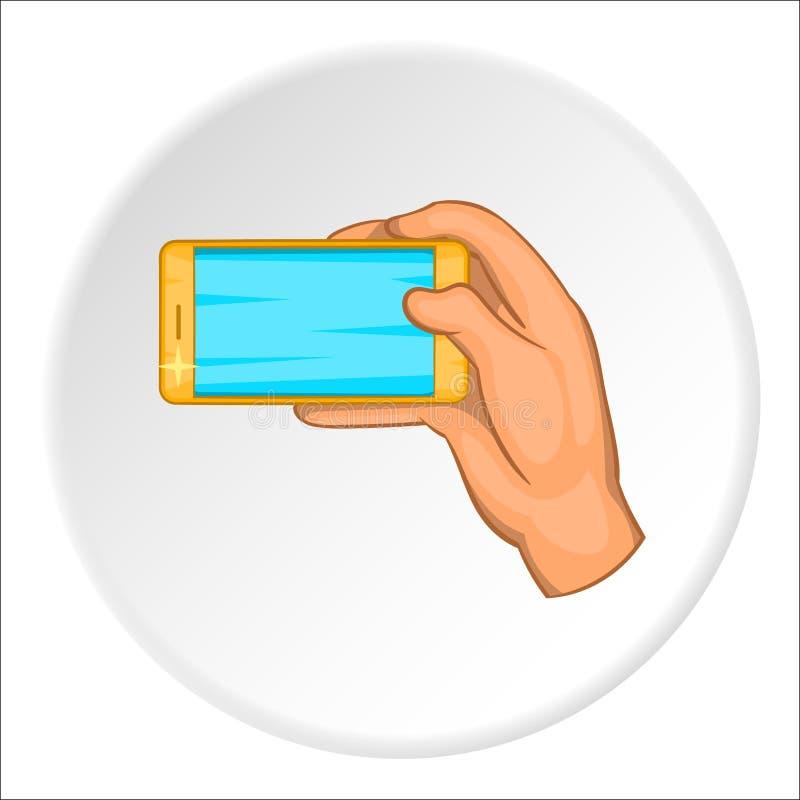 Trabajos de mano con el icono del smartphone, estilo de la historieta ilustración del vector