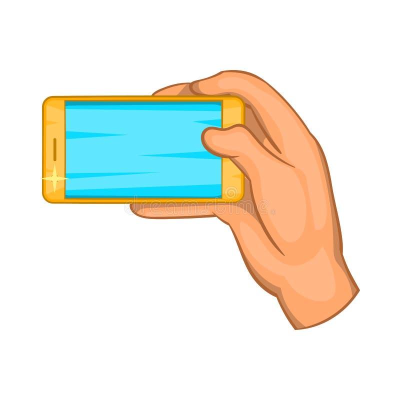 Trabajos de mano con un icono del smartphone, estilo de la historieta stock de ilustración