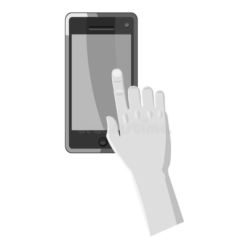 Trabajos de mano sobre el icono del teléfono, estilo monocromático gris ilustración del vector