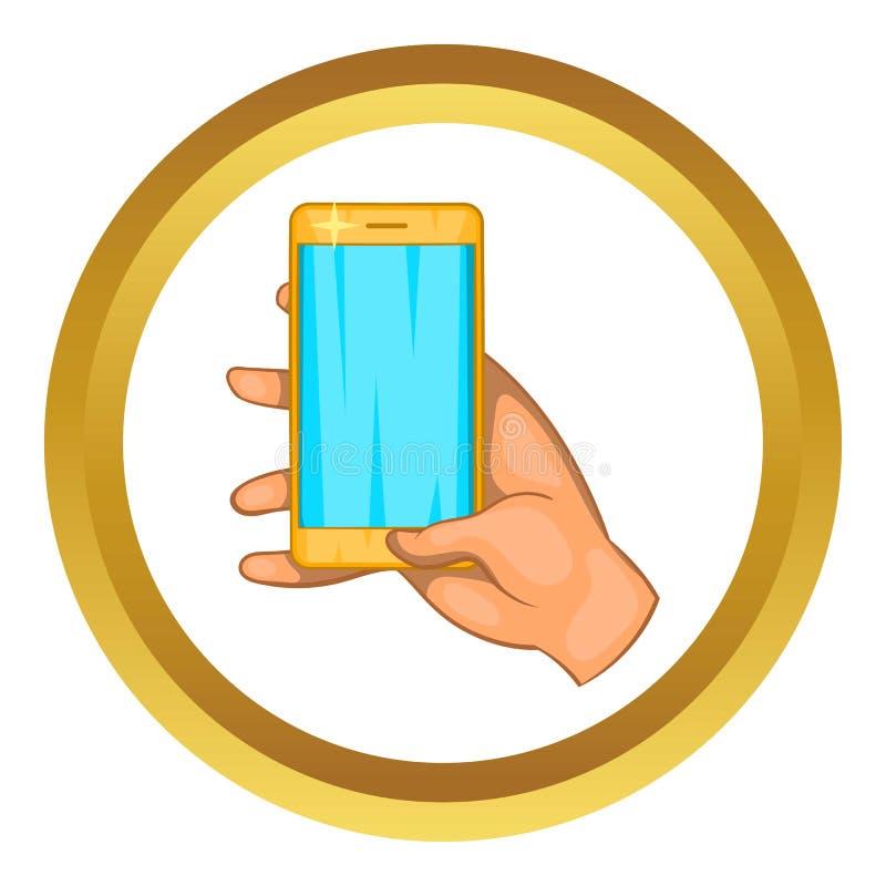 Trabajos de mano sobre un icono del teléfono móvil stock de ilustración