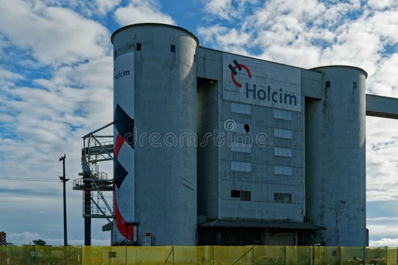 Trabajos del cemento de Holcim, Westport, Nueva Zelanda fotos de archivo libres de regalías