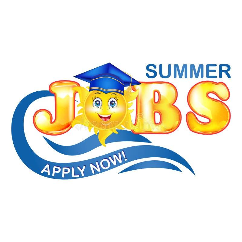 Trabajos del verano para la etiqueta de los graduados con el sol cartooned stock de ilustración