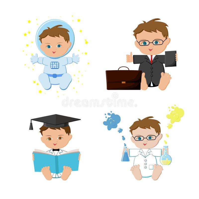 Trabajos ideales del bebé, profesiones fijadas El astronauta, hombres de negocios, profesor, científico embroma ilustración del vector
