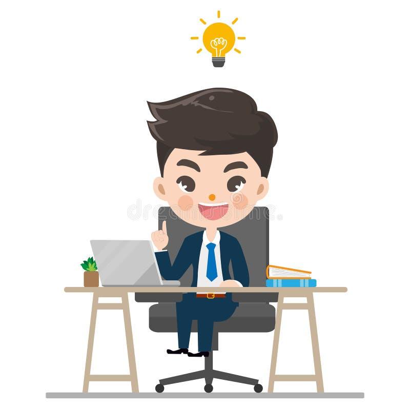 Trabajos y sonrisa del hombre de negocios en la oficina ilustración del vector