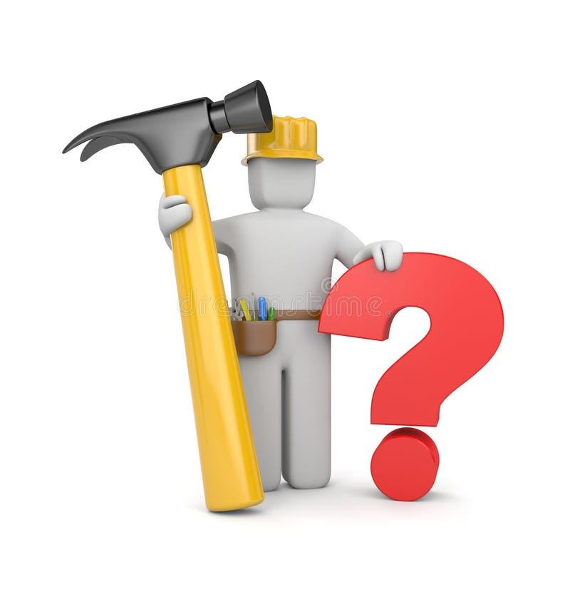 trabalhador 3d com martelo e pergunta ilustração royalty free
