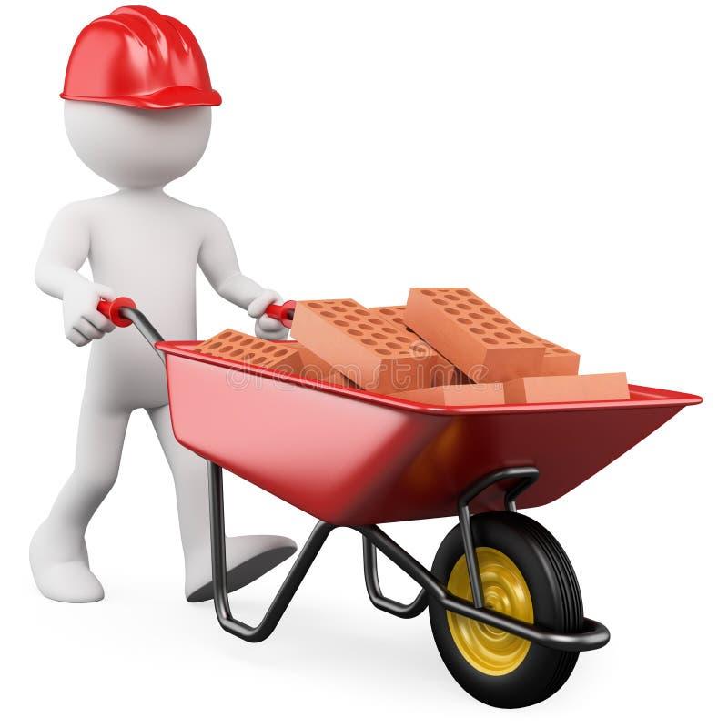 trabalhador 3D que empurra um wheelbarrow com tijolos ilustração do vetor