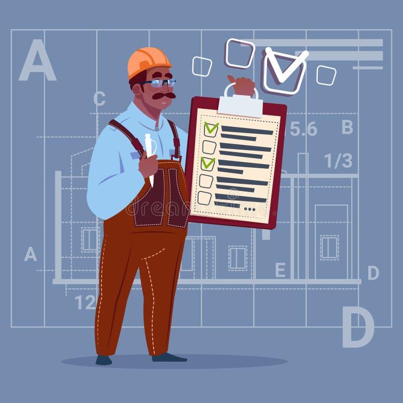 Trabalhador afro-americano de Hold Checklist Construction do carpinteiro do construtor dos desenhos animados sobre o fundo abstra ilustração do vetor