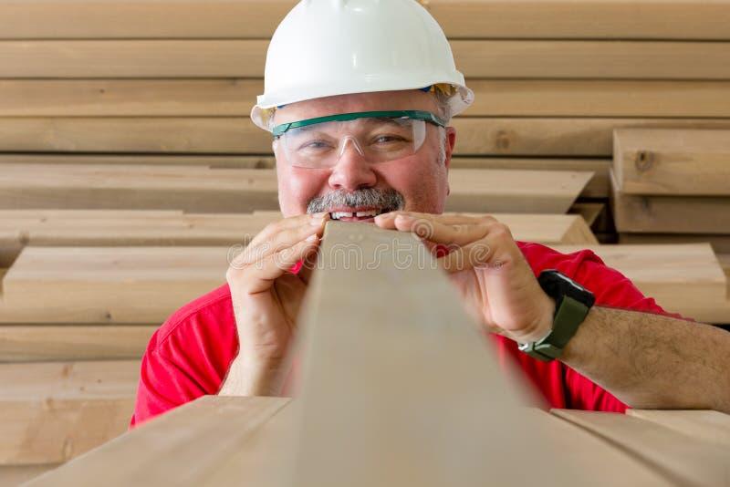 Trabalhador alegre que inspeciona a qualidade da prancha de madeira fotografia de stock royalty free