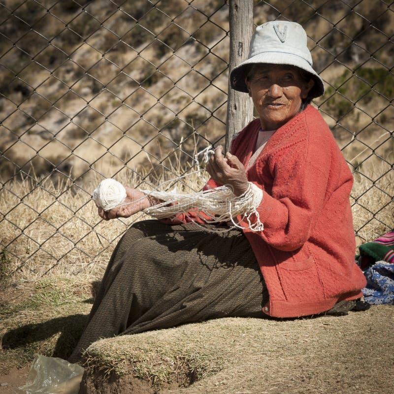 Trabalhador boliviano não identificado em Isla del Sol, no lago Titicaca, o lago highaltitude o maior no mundo 3808 mt - Bolívia imagem de stock
