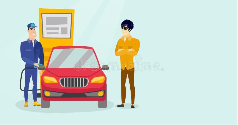 Trabalhador branco caucasiano que enche-se acima do combustível no carro ilustração do vetor