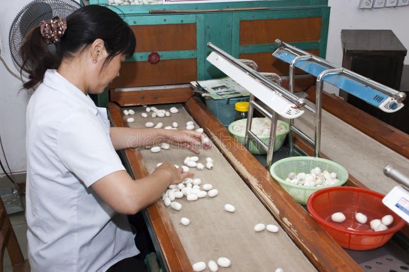 Trabalhador chinês em Suzhou, China, fábrica de seda fotografia de stock