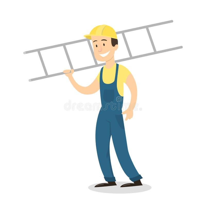 Trabalhador com escada ilustração royalty free