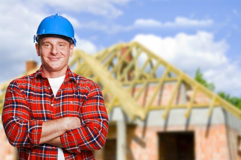 Trabalhador com ferramentas Construção, conceito da renovação imagem de stock