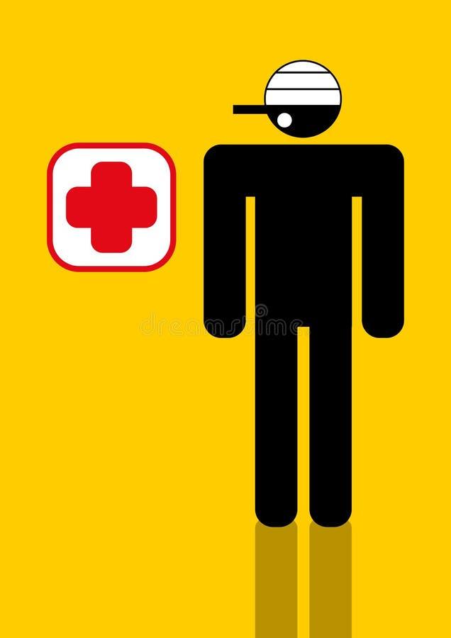 Trabalhador com lesão em a cabeça ilustração do vetor
