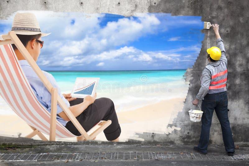 Trabalhador com o anúncio do homem de negócio do desenho de escovas da pintura sobre imagem de stock royalty free