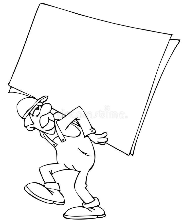 Trabalhador com um poster ilustração stock