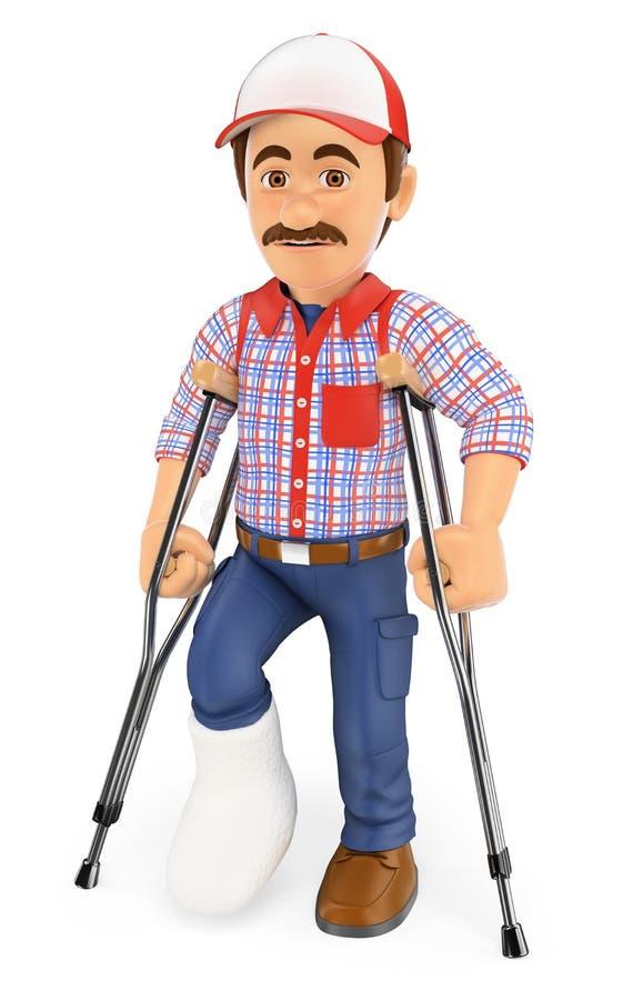 trabalhador 3D com um pé no emplastro e nas muletas ferido ilustração royalty free