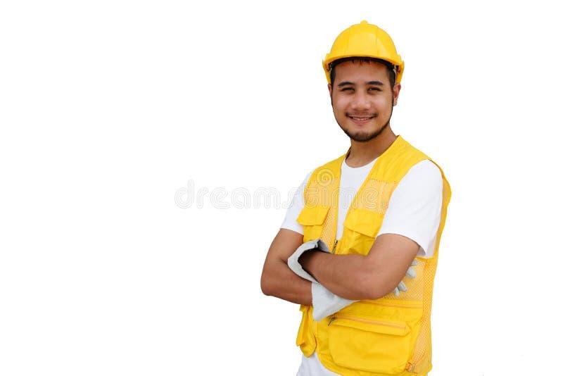 Trabalhador da barba da construção isolado no branco foto de stock royalty free