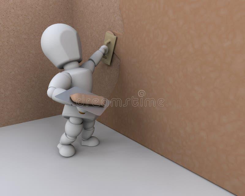 trabalhador da construção 3D ilustração stock