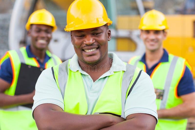 Trabalhador da construção africano fotografia de stock