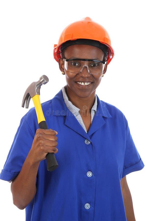 Trabalhador da construção africano da mulher fotos de stock royalty free